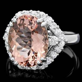 14K White Gold 6.08ct Morganite and 1.04ct Diamond Ring