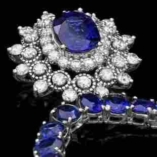 14K White Gold 43.87ct Sapphire and 1.62ct Diamond