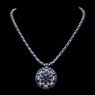 14K White Gold 43.37ct Sapphire and 2.48ct Diamond