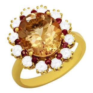 14k Yellow Gold 4.65ct Morganite 0.50ct Ruby 1.05ct