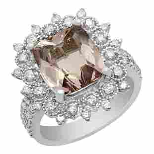 14k White Gold 3.79ct Morganite 0.92ct Diamond Ring