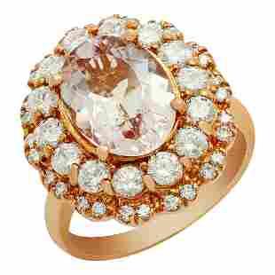 14k Rose Gold 3.08ct Morganite 1.61ct Diamond Ring