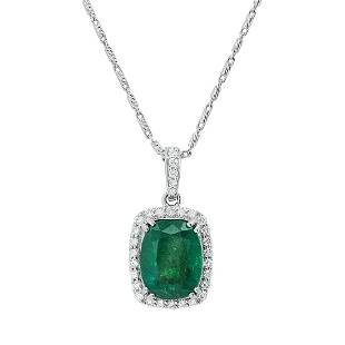 18K White Gold Setting with 6.00ct Emerald and 0.49ct