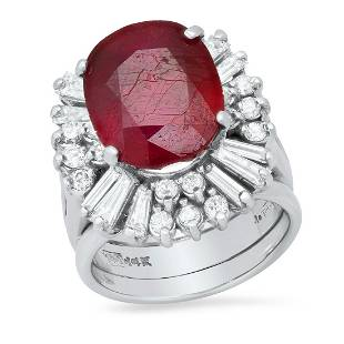 14K White Gold with 8.5ct Ruby and 1.58ct Diamond Ring