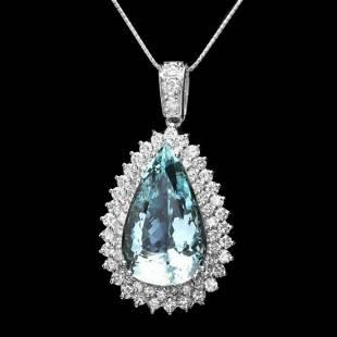 14K Gold 25.21ct Aquamarine 3.46ct Diamond Pendant