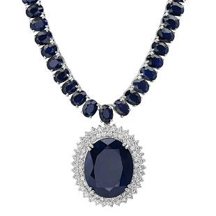 14K White Gold with 170.20ct Sapphire and 4.38ct