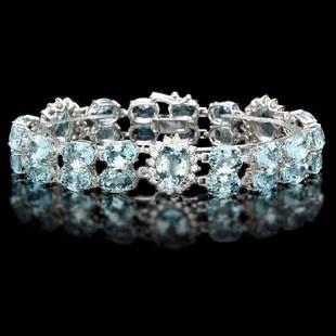 14K Gold 39.92ct Aquamarine 1.89ct Diamond Bracelet