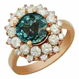 14k Rose Gold 3.10ct Blue Zircon 1.48ct Diamond Ring