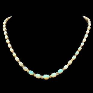14K Yellow Gold 18.87ct Opal and 1.09ct Diamond