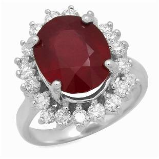 14K White Gold 7.07ct Ruby and 1.15ct Diamond Ring