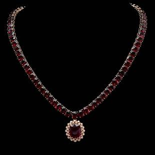 14K Gold 143.21ct Ruby & 1.03ct Diamond Necklace
