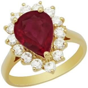 14k Yellow Gold 3.59ct Ruby 0.79ct Diamond Ring