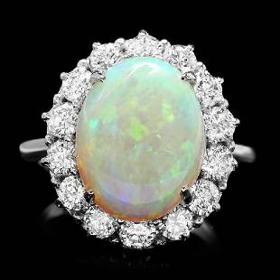 14K White Gold 4.36ct Opal and 1.33ct Diamond Ring