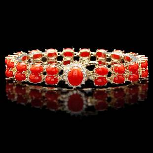 14K Yellow Gold 25.85ct Coral and 0.35ct Diamond