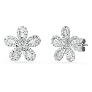 18K White Gold Setting with 1.50ct Diamonds Earrings