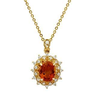 14k Yellow Gold 3.98ct Citrine 0.17ct Diamond Pendant