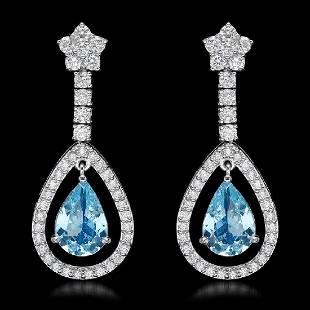 14K White Gold 4.32ct Aquamarine and 2.68ct Diamond