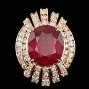 14K Rose Gold 10.91ct Ruby and 2.07ct Diamond Ring