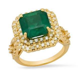 14K Yellow Gold 6.00ct Emerald and 1.08ct Diamond Ring