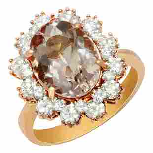 14k Rose Gold 3.54ct Morganite 1.43ct Diamond Ring