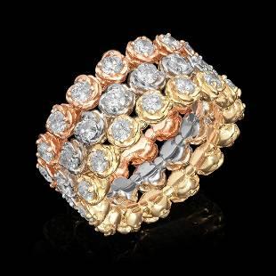 14k Yellow, White & Rose Gold 3.33ct Diamond Ring Set