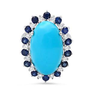 14K White Gold 16.95ct Turquoise 2.05ct Sapphire and