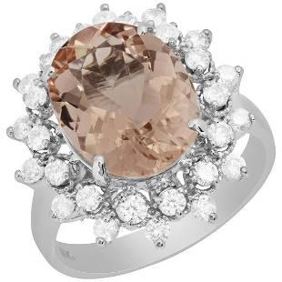 14k White Gold 4.71ct Morganite 0.73ct Diamond Ring