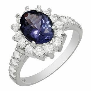 14k White Gold 1.79ct Tanzanite 0.80ct Diamond Ring