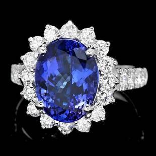 14K White Gold 6.78ct Tanzanite and 1.43ct Diamond Ring