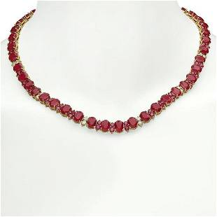 14K Gold 94.87ct Ruby 2.60ct Diamond Necklace