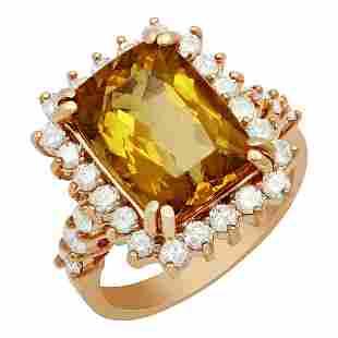 14k Rose Gold 4.82ct Yellow Beryl 0.80ct Diamond Ring