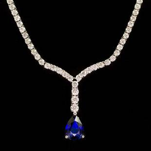 18k Gold 1.87ct Sapphire 4.14ct Diamond Necklace