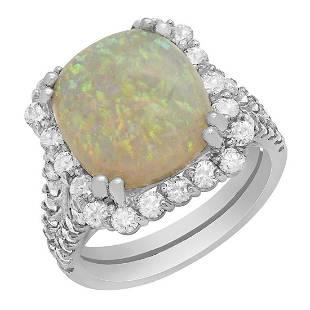 14k White Gold 5.29ct White Opal 1.59ct Diamond Ring