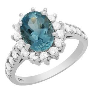 14k White Gold 2.02ct Aquamarine 0.80ct Diamond Ring