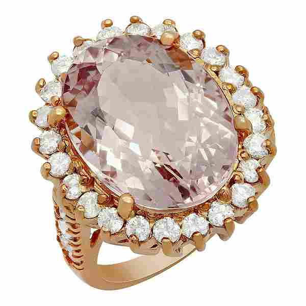 14k Rose Gold 10.96ct Kunzite 1.82ct Diamond Ring