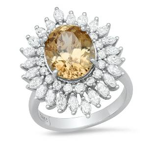 14K White Gold 7.85ct Gold Zircon and 2.16ct Diamond