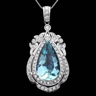 14K Gold 16.15ct Aquamarine 2.02ct Diamond Pendant