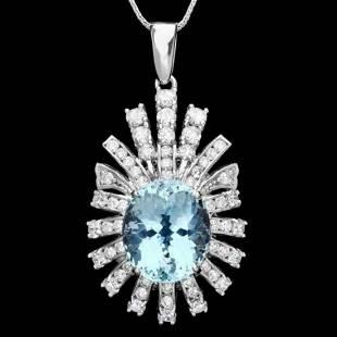 14K Gold 8.0ct Aquamarine 2.51ct Diamond Pendant