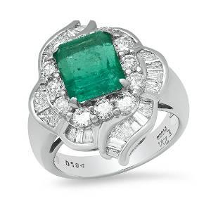Platinum Setting with 2.44ct Emerald and 1.94ct Diamond