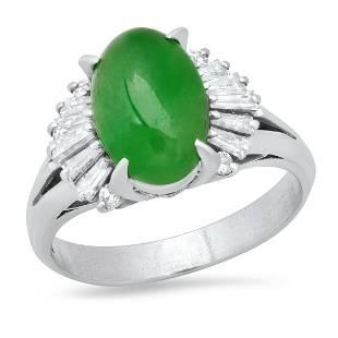 Platinum Ladies Ring with 3.30ct Jade(GIA certified)