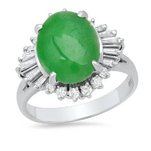 Platinum Ladies Ring with 4.0ct Jade(GIA certified) and