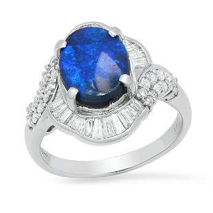 Platinum Setting with 2.73ct Opal and 1.09ct Diamond