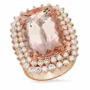 14K Rose Gold with 17.46ct Morganite and 2.66ct Diamond