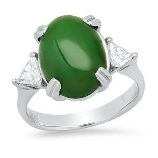 Platinum Ladies Ring with 5.74ct Jade(GIA certified)