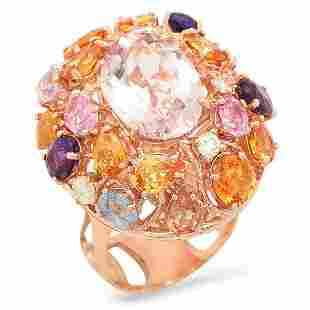 14K Rose Gold 7.57ct Morganite 6.00ct Sapphire and