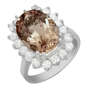 14k White Gold 6.38ct Morganite 1.19ct Diamond Ring