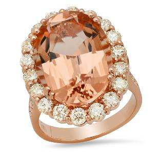14K Rose Gold with 13.35ct Morganite and 1.84ct Diamond