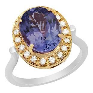 14k Rose & White Gold 5.05ct Tanzanite 0.42ct Diamond