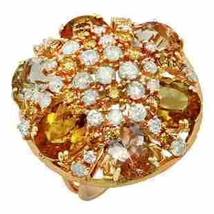 14k Yellow & Rose Gold 16.55ct Aquamarine, Morganite &