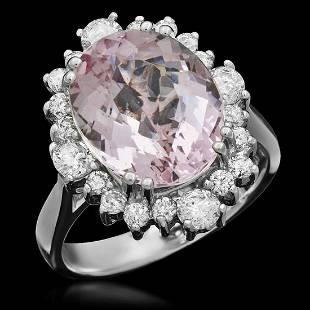 14K White Gold 5.43ct Morganite and 1.13ct Diamond Ring